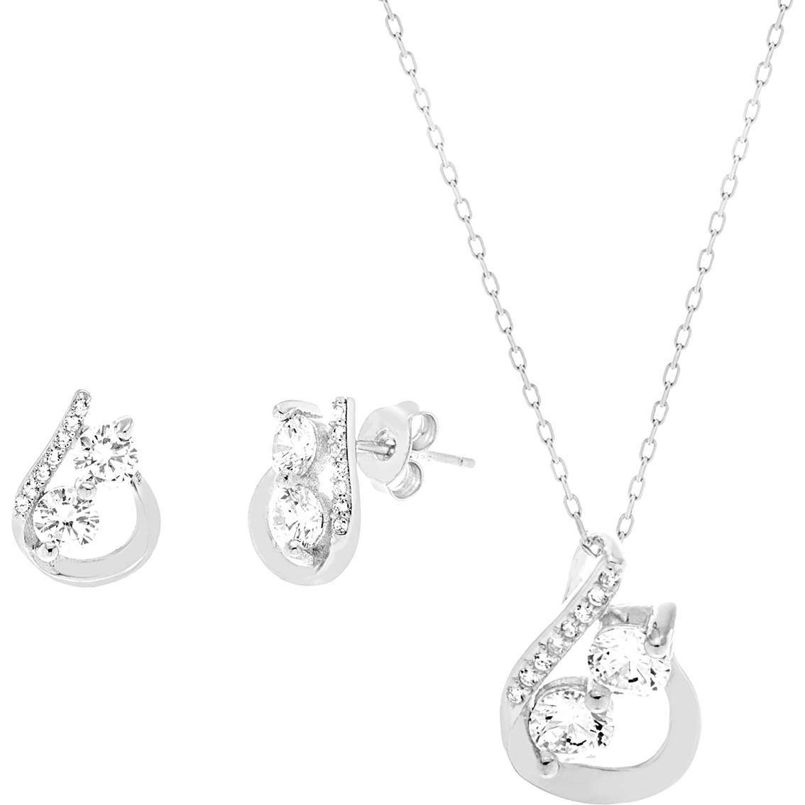 d5fe0278e Sterling Silver Two Stone Cubic Zirconia Crossed Teardrop Pendant and Earrings  Set