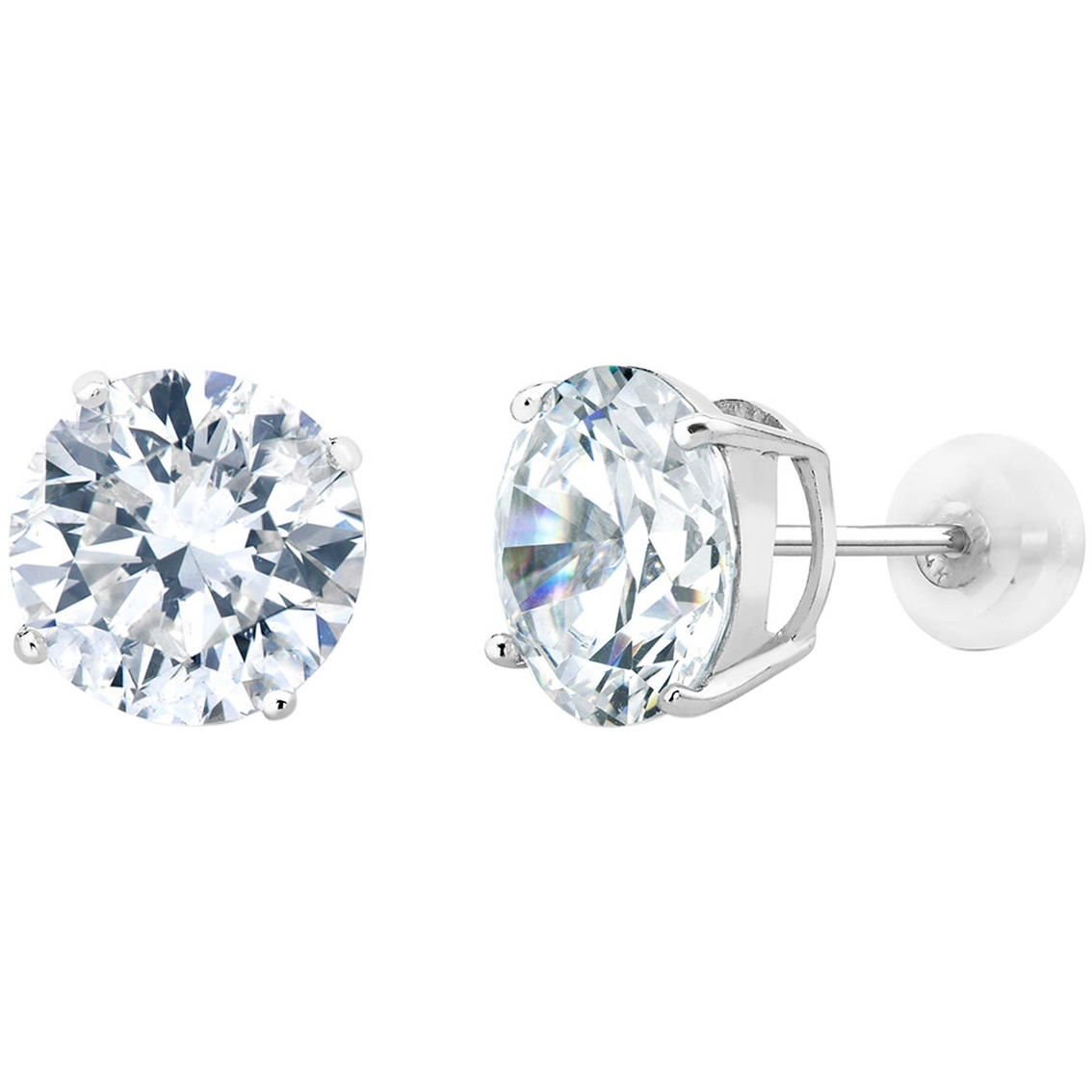 14k White Gold 0 9 Ctw Round Simulated Diamond Stud Earrings
