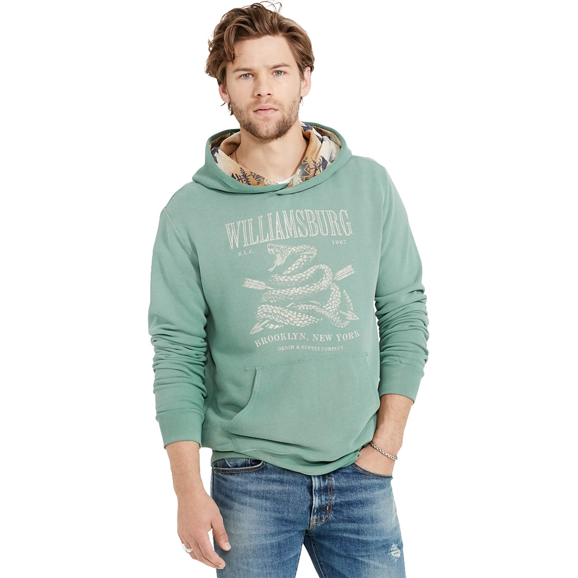 info for first look well known Denim & Supply Ralph Lauren French Terry Graphic Hoodie ...
