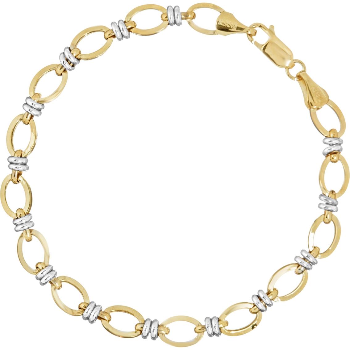 b9d0cf0902b80 14k Two Tone Gold Flat Oval Chain With Double White Link Bracelet ...