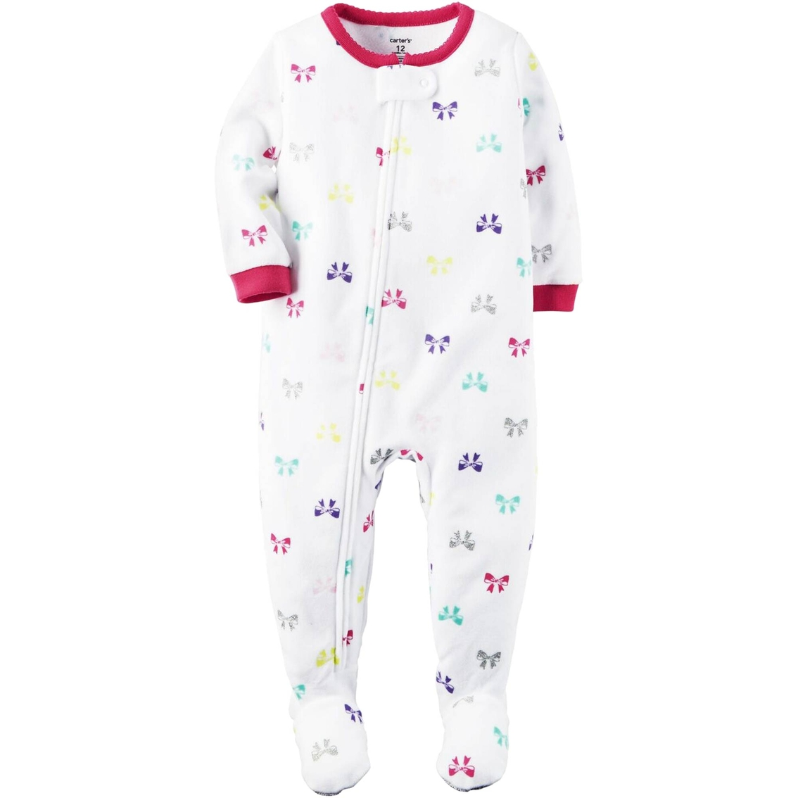 bfef9e9e0e42 Carter s Toddler Girls 1 Pc. Multicolor Bow Print Footed Pajamas ...