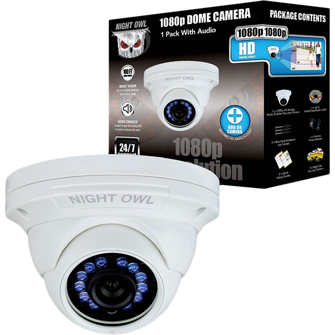 Night Owl 1080p Hd Analog Wired Dome Security Camera | Home ...