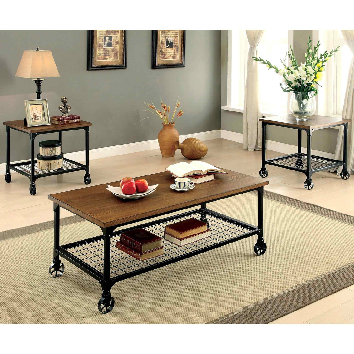 Furniture Store Online Usa: Furniture Of America Ventura Cocktail With End Tables 3 Pk