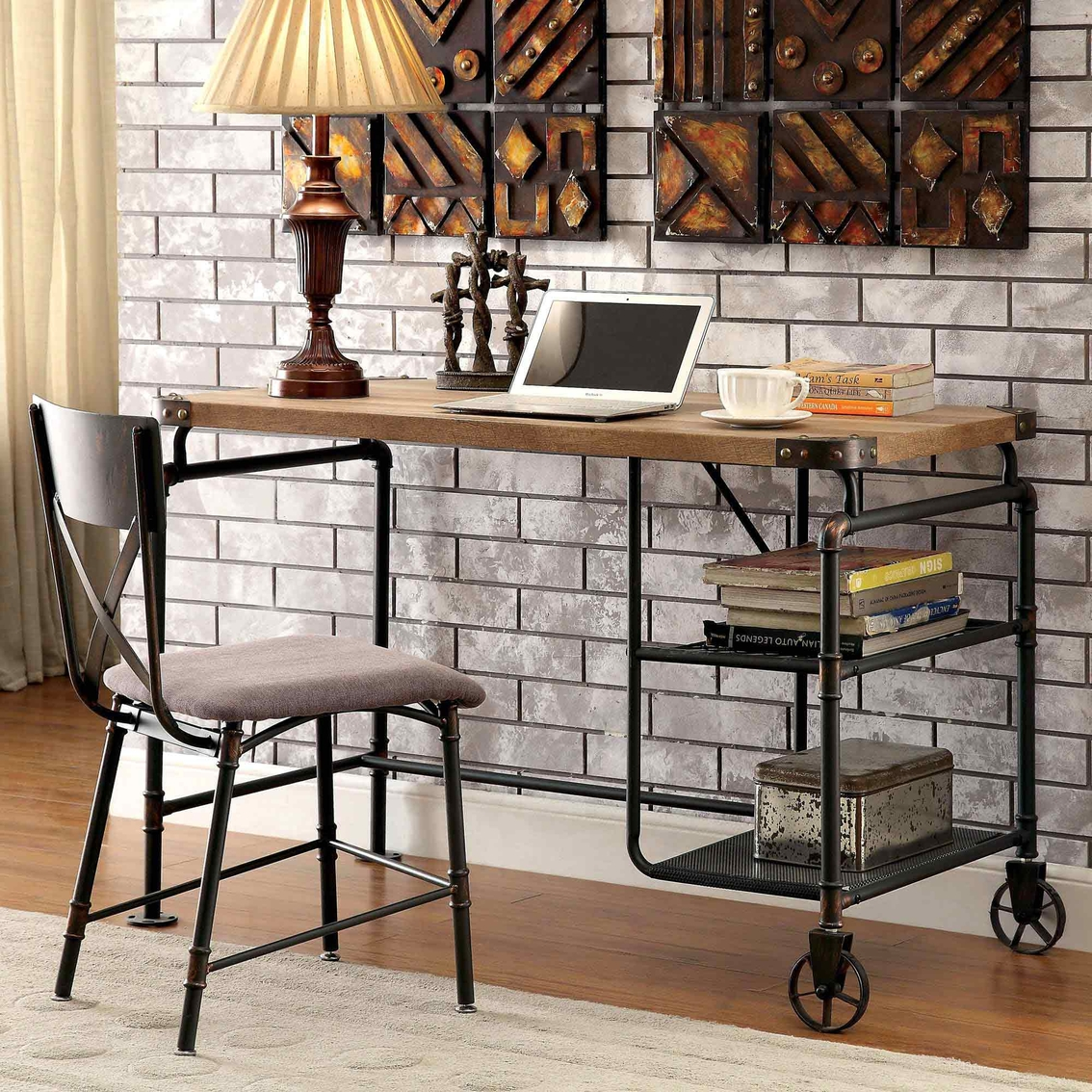 Oversized Wood And Metal Laptop Table: Furniture Of America Metal Desk With Wheels