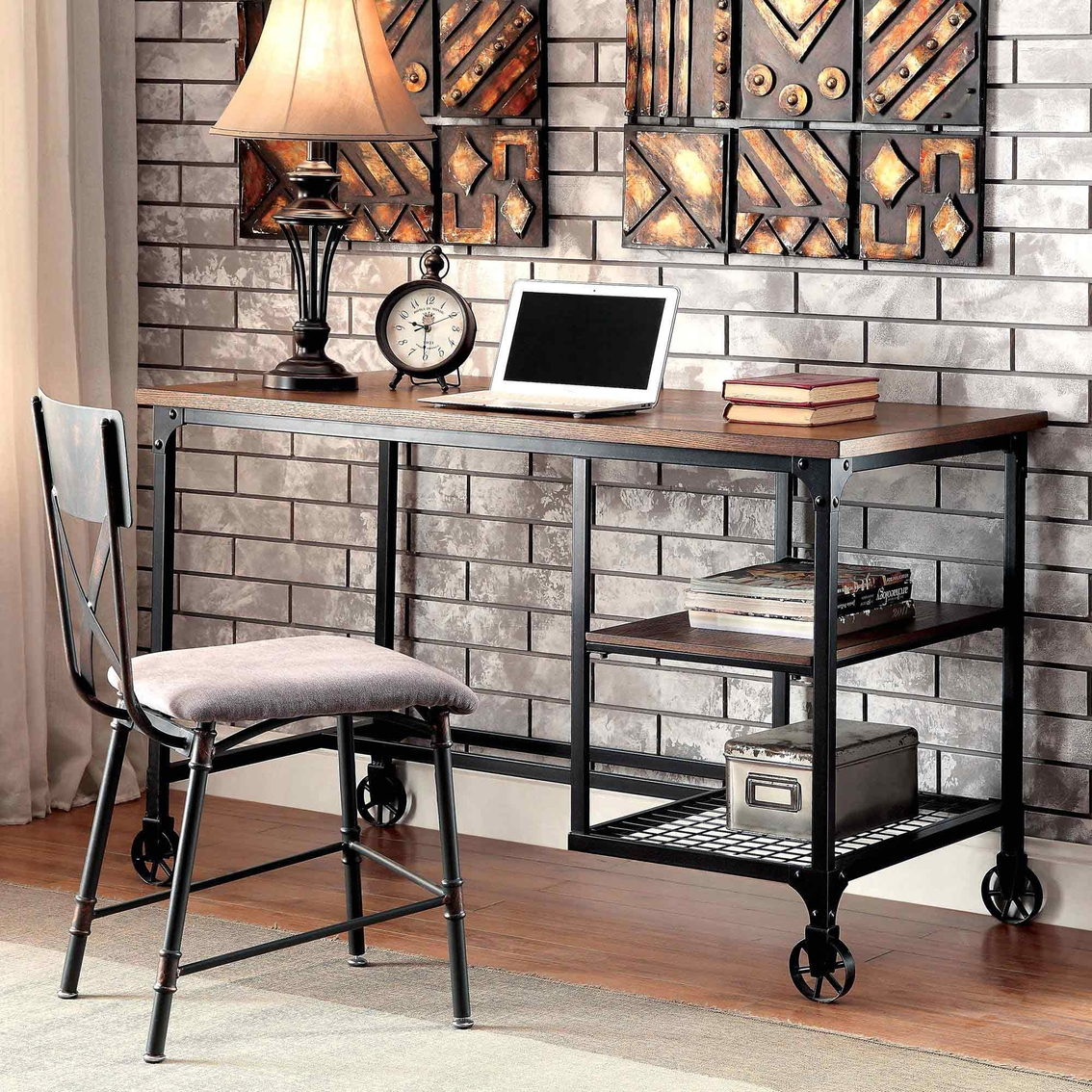 Furniture Of America Cori Metal Desk With Wheels