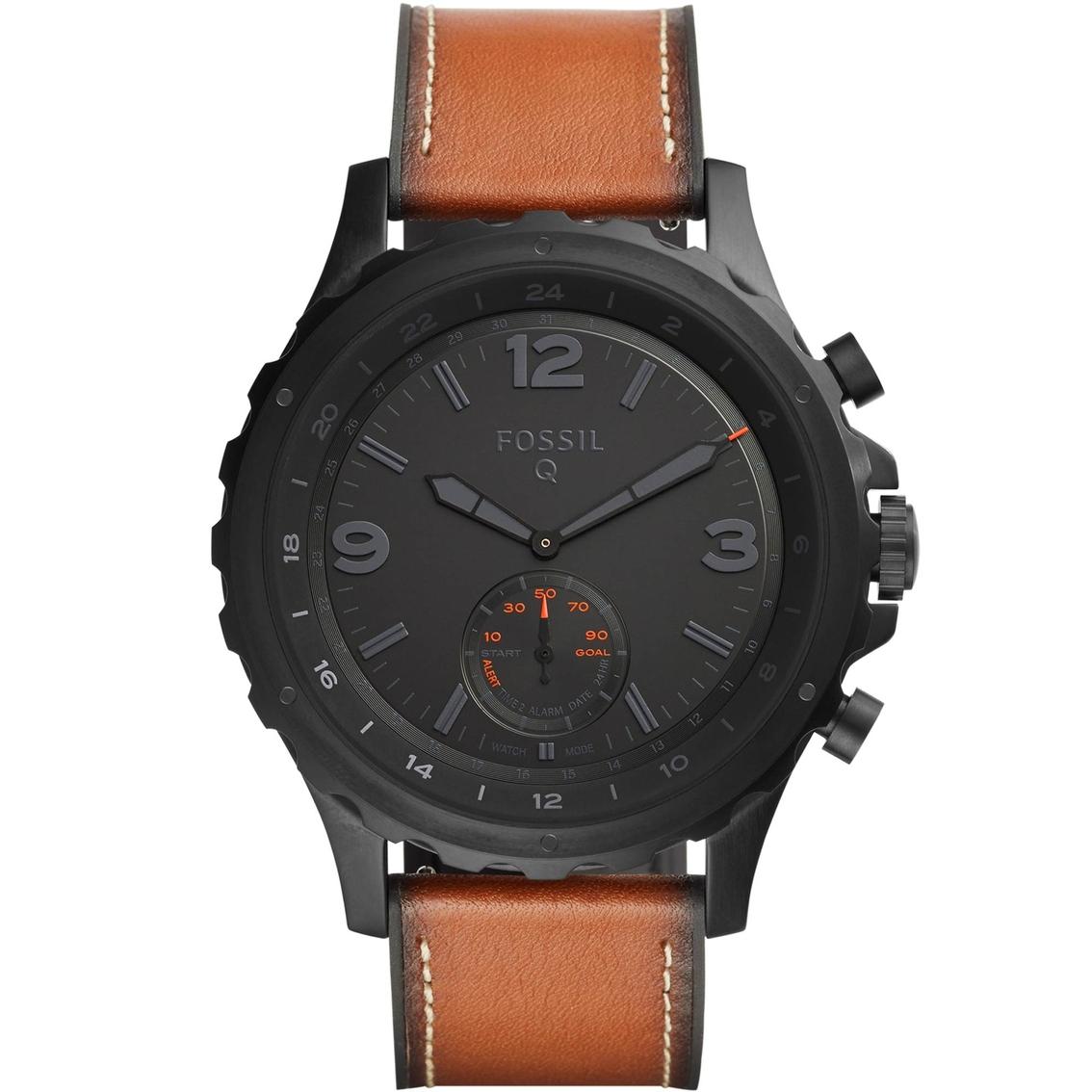 962026ef69b Fossil Men s Q Nate Dark Brown Leather Hybrid Smartwatch Ftw1114 ...