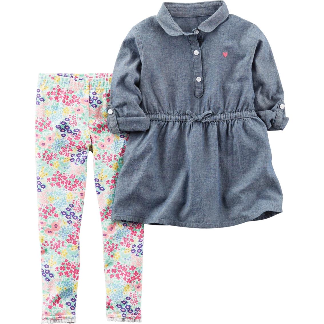 aa96953eccd4 Carter's Toddler Girls Chambray Drop Waist Floral Legging 2 Pc. Set ...