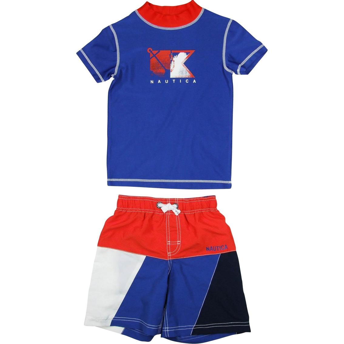 5a08bf0c71 Nautica Little Boys 2 Pc. Rashguard And Colorblock Swim Trunk Set ...