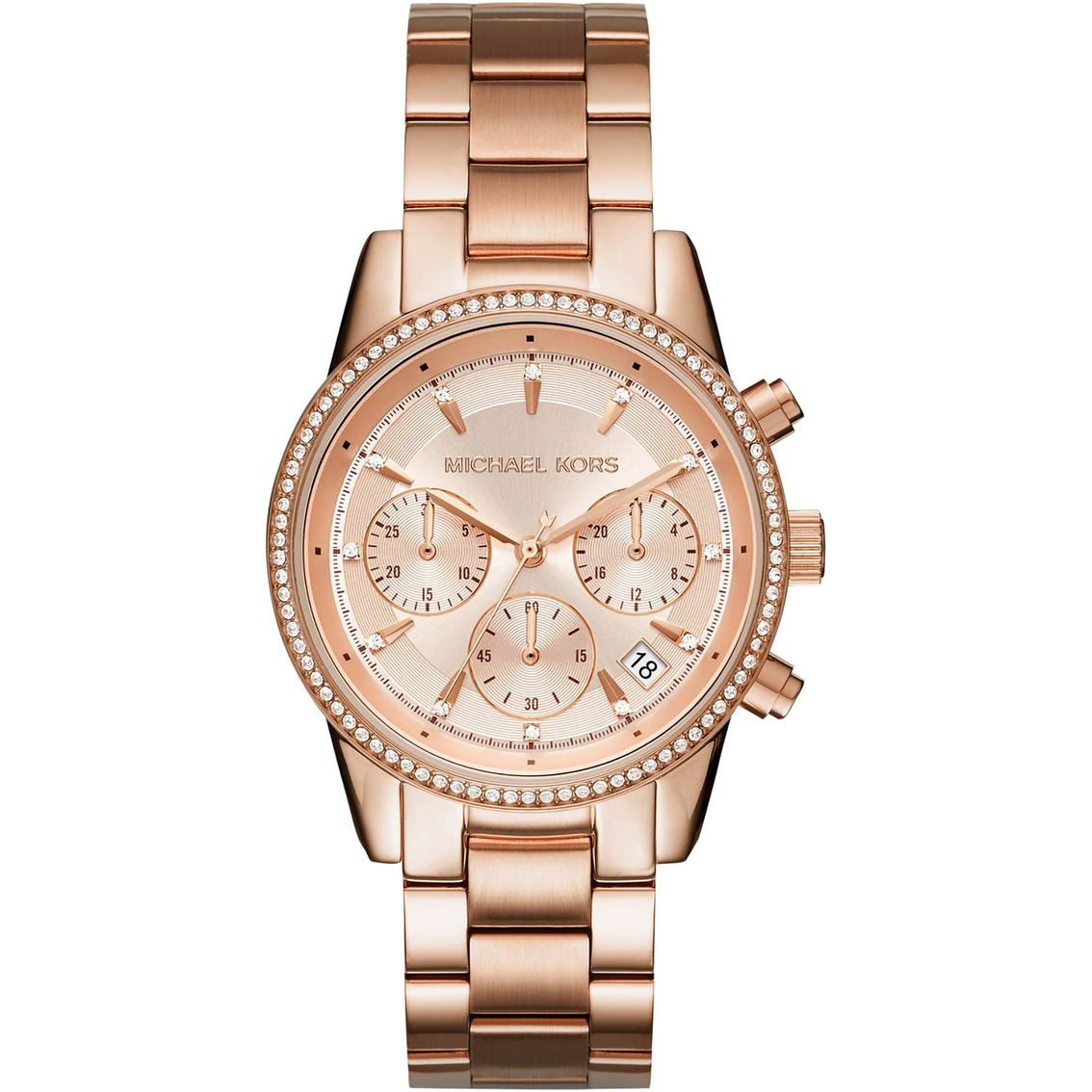 feb503b761d4 Michael Kors Women s Ritz Rose Gold Tone Chronograph Watch 37MM MK6428