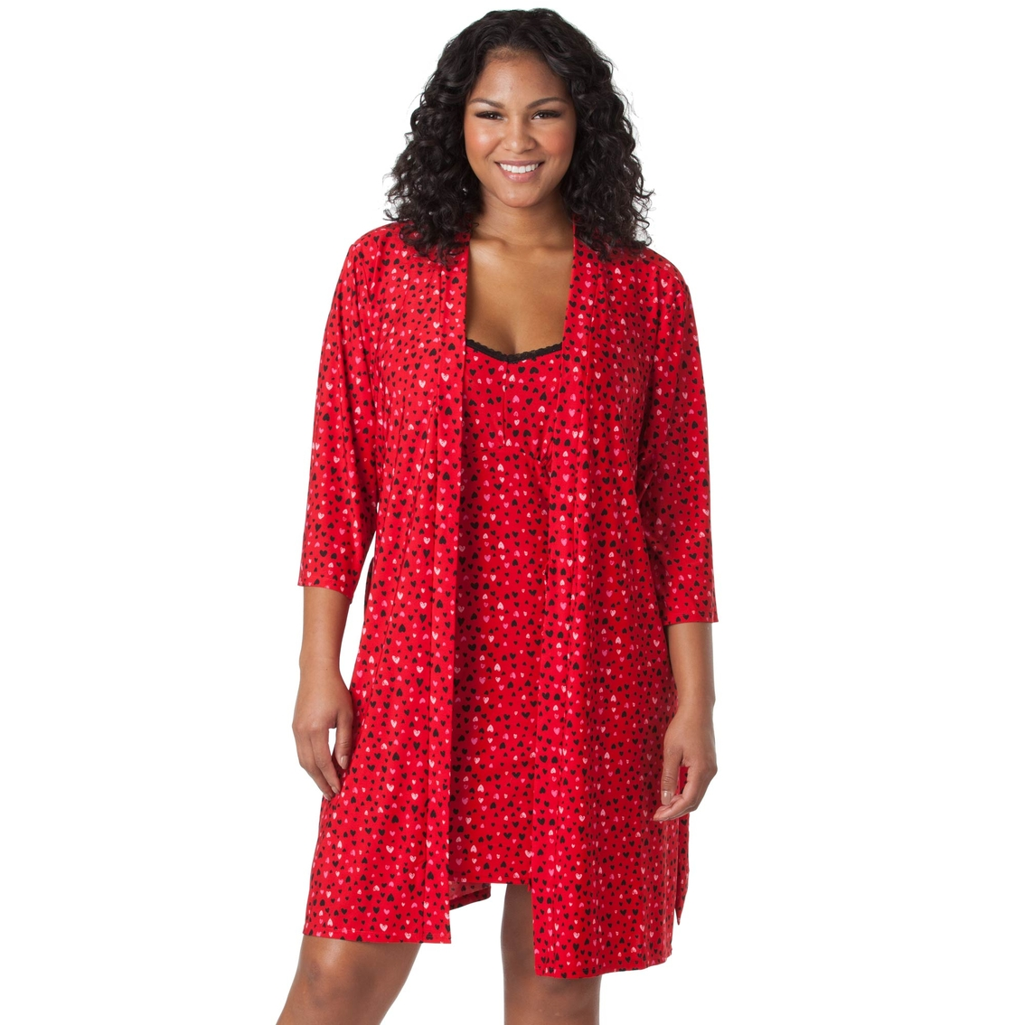 b44ca7ad4 Rene Rofe Plus Size Lace Me Up 2 Pc. Robe And Chemise Set   Pajamas ...