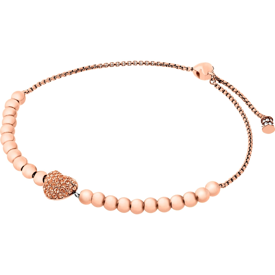 dfa967ca06713 Michael Kors Pave Hearts Crystal Bead Slider Bracelet