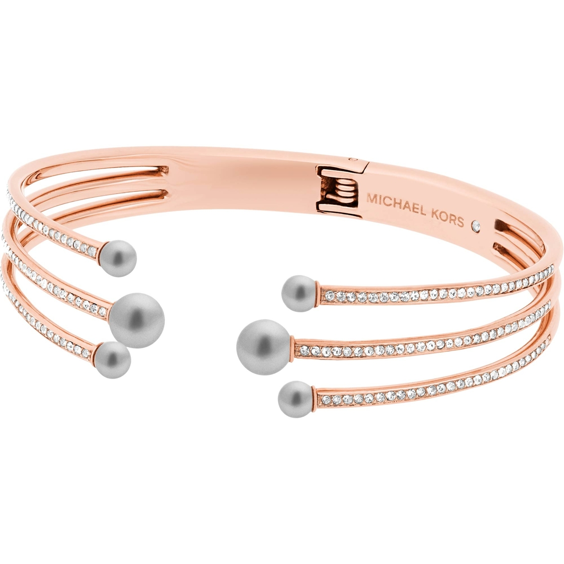 f3f4b3281f3df Michael Kors Modern Classic Stainless Steel Pave Crystal and Pearl Hinged  Bracelet