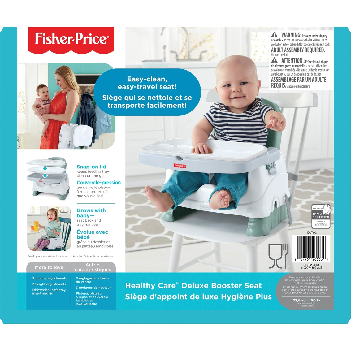 Baby Booster Seat Toddler Child Feeding Tray Adjustable Front//Back Strap Travel