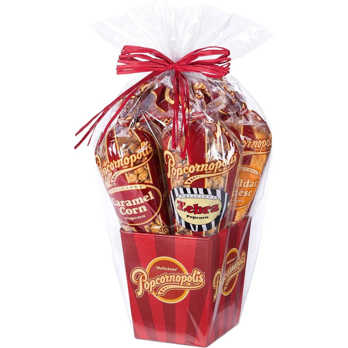 Popcornopolis Gourmet Popcorn Five Cone Gift Basket