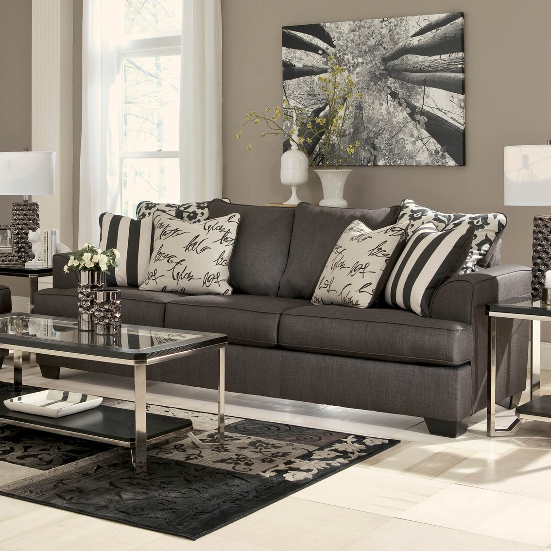 Contemporary Sofa Chairs: Signature Design By Ashley Levon Sofa, Charcoal