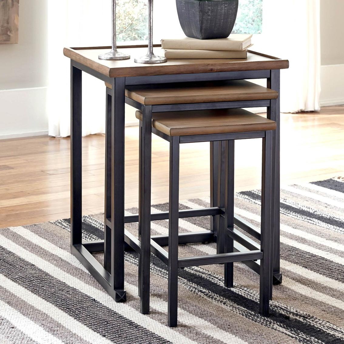 ashley signature design 3 pc traxmore rectangular nesting end table set living room tables. Black Bedroom Furniture Sets. Home Design Ideas