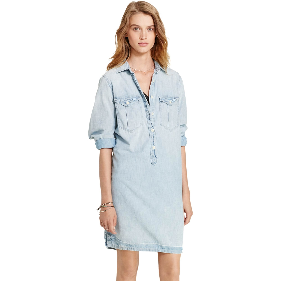 amp; Antique Supply Ralph Shirtdress Surplus Lauren Chambray Denim FCwqUx6dF