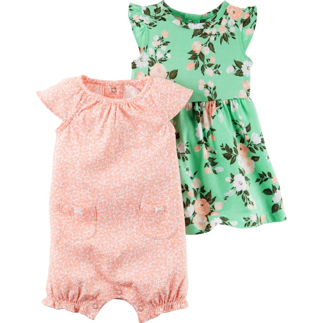 09511df1123e Carter s Infant Girls Floral Dress   Romper Set 2 Pk.