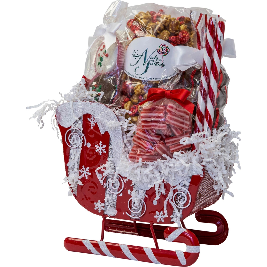Naper Nuts And Sweets Red Swirl Snowflake Sleigh