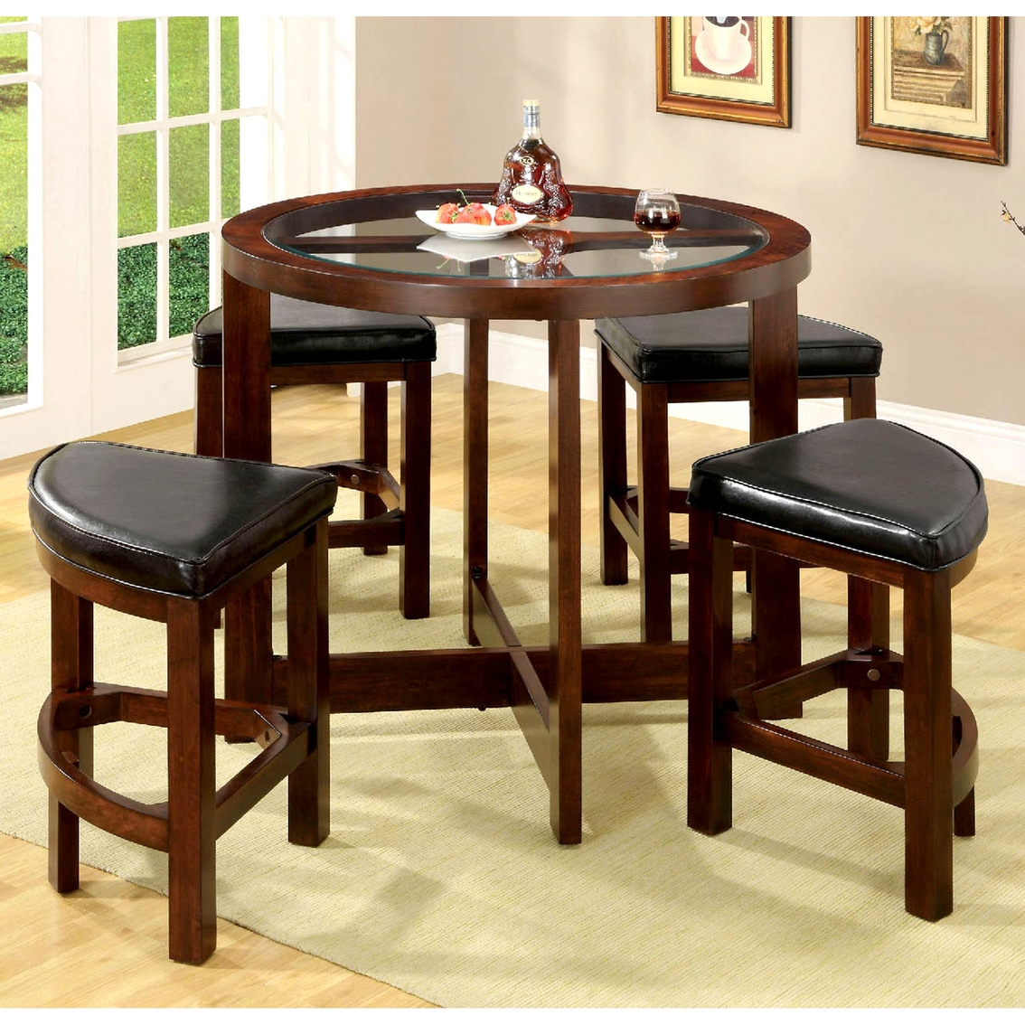 Superb Furniture Of America Crystal Cove 5 Pc Round Counter Height Gmtry Best Dining Table And Chair Ideas Images Gmtryco