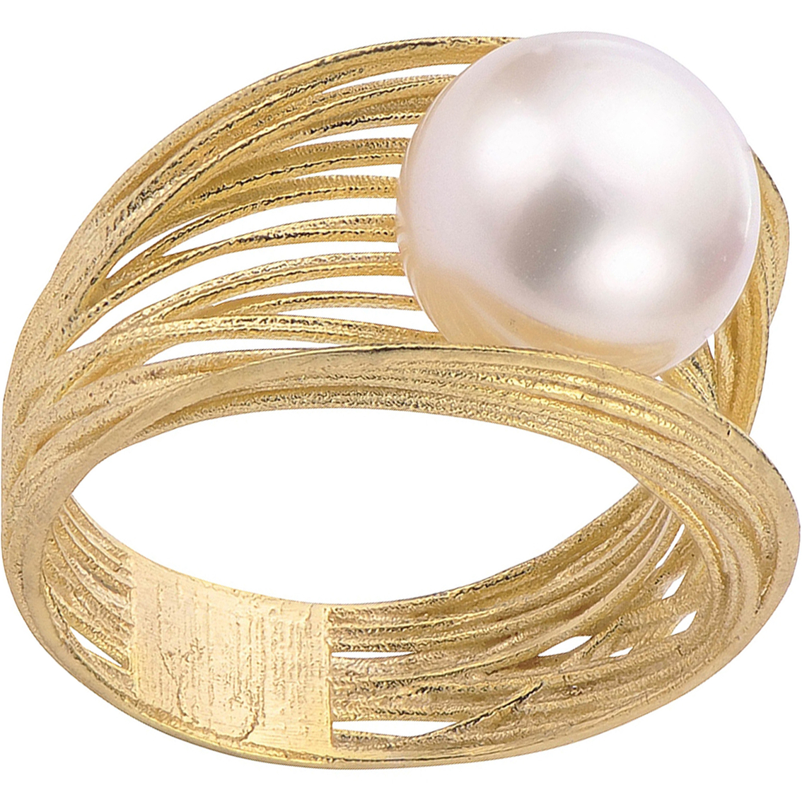 dd274a4f3 Imperial 14K Yellow Gold Filigree Style Freshwater Cultured Pearl Ring Size  7