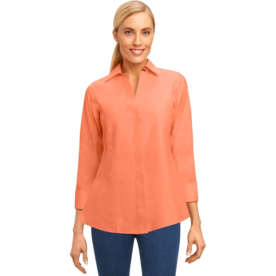 02ad1fa2132a71 Foxcroft Petite Taylor Solid Pinpoint Non Iron Shirt | Casual Shirts ...