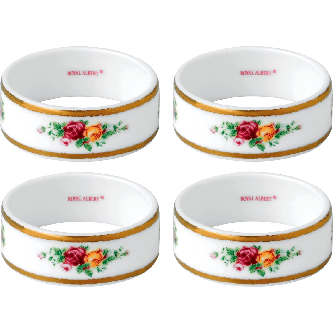 Royal Albert Old Country Roses 4pc Napkin Rings Set