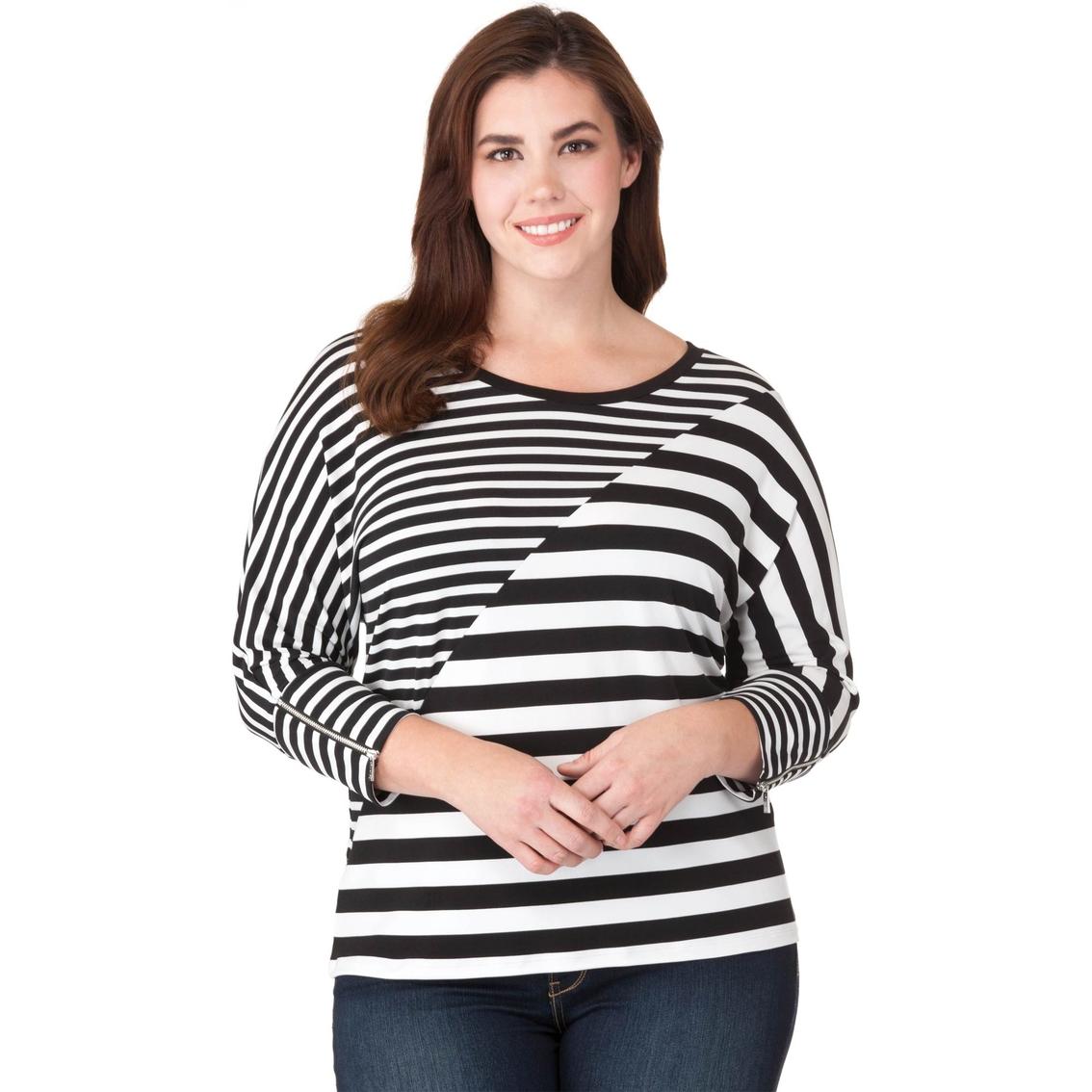 8d93d30bb0f9 Calvin Klein Plus Size Mixed Stripe Dolman Top