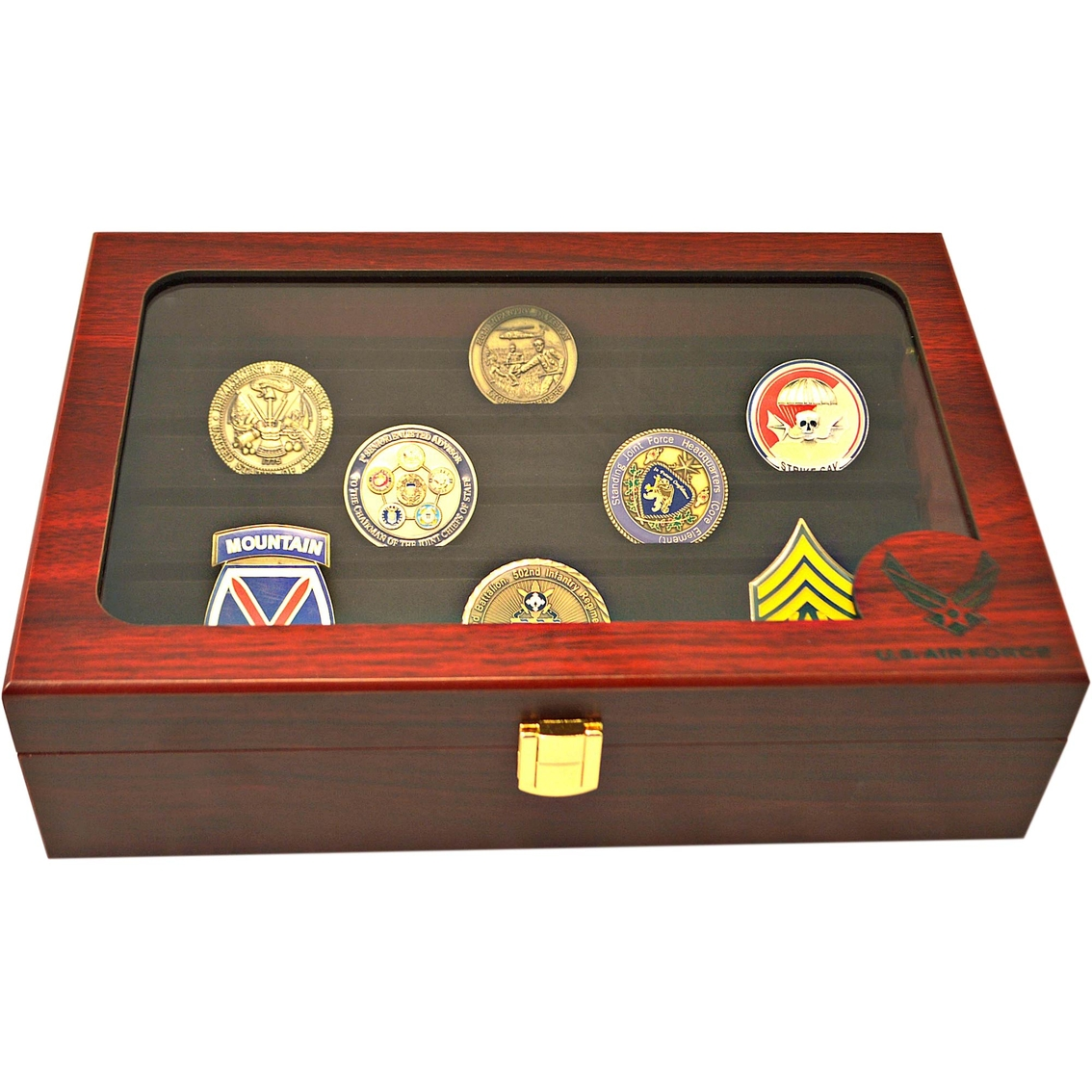 Mi Engraving Air Force Challenge Coin Display Box Frames