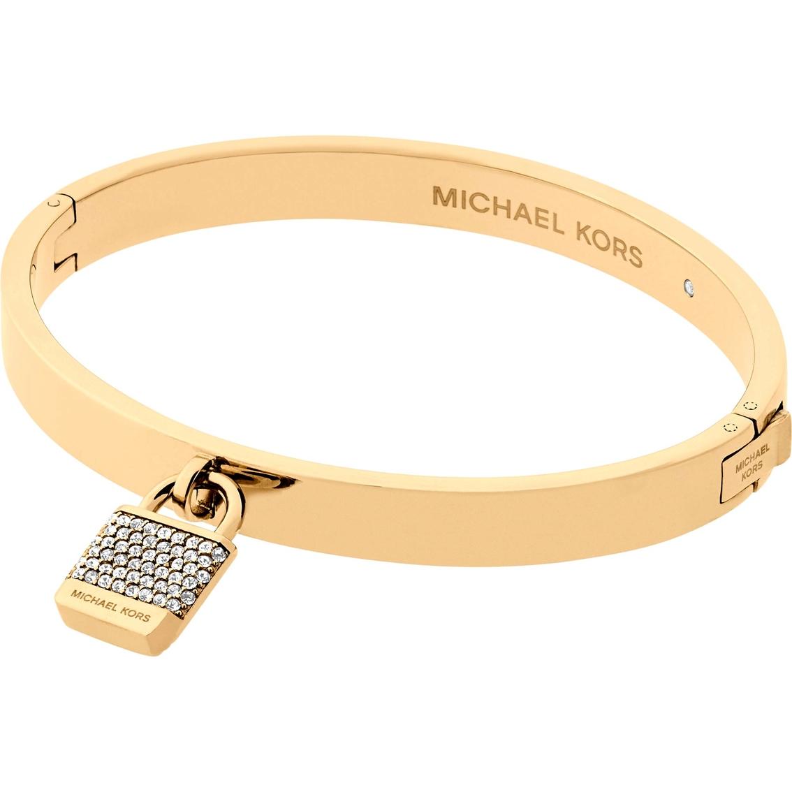 428b64453a8ac Michael Kors Haute Hardware Logo Goldtone and Pave Padlock Hinged Bangle  Bracelet