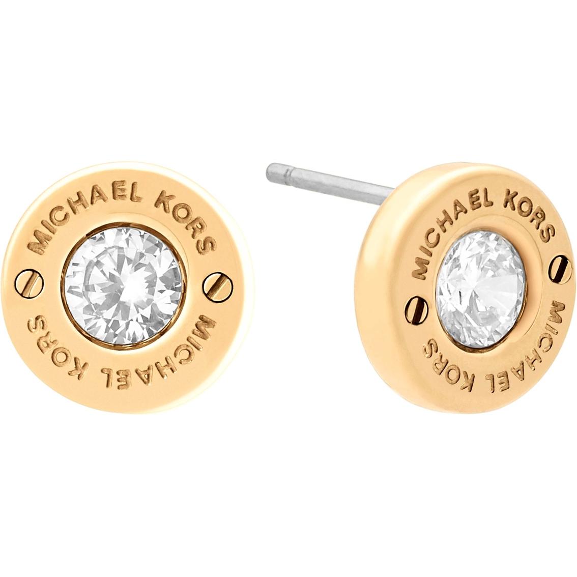70db94863 Michael Kors Haute Hardware Precious Metal Tone And Crystal Logo. Home  Womens Jewelry Earrings Michael Kors Rose Gold Tone Logo Lock Stud. Michael  ...