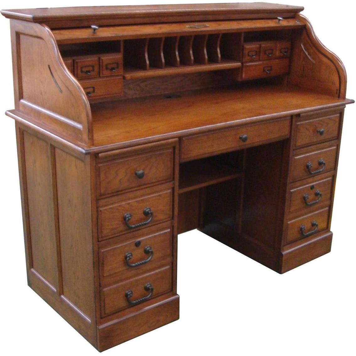 office furniture desk vintage chocolate varnished. Roll Top Desk Office Furniture Vintage Chocolate Varnished I