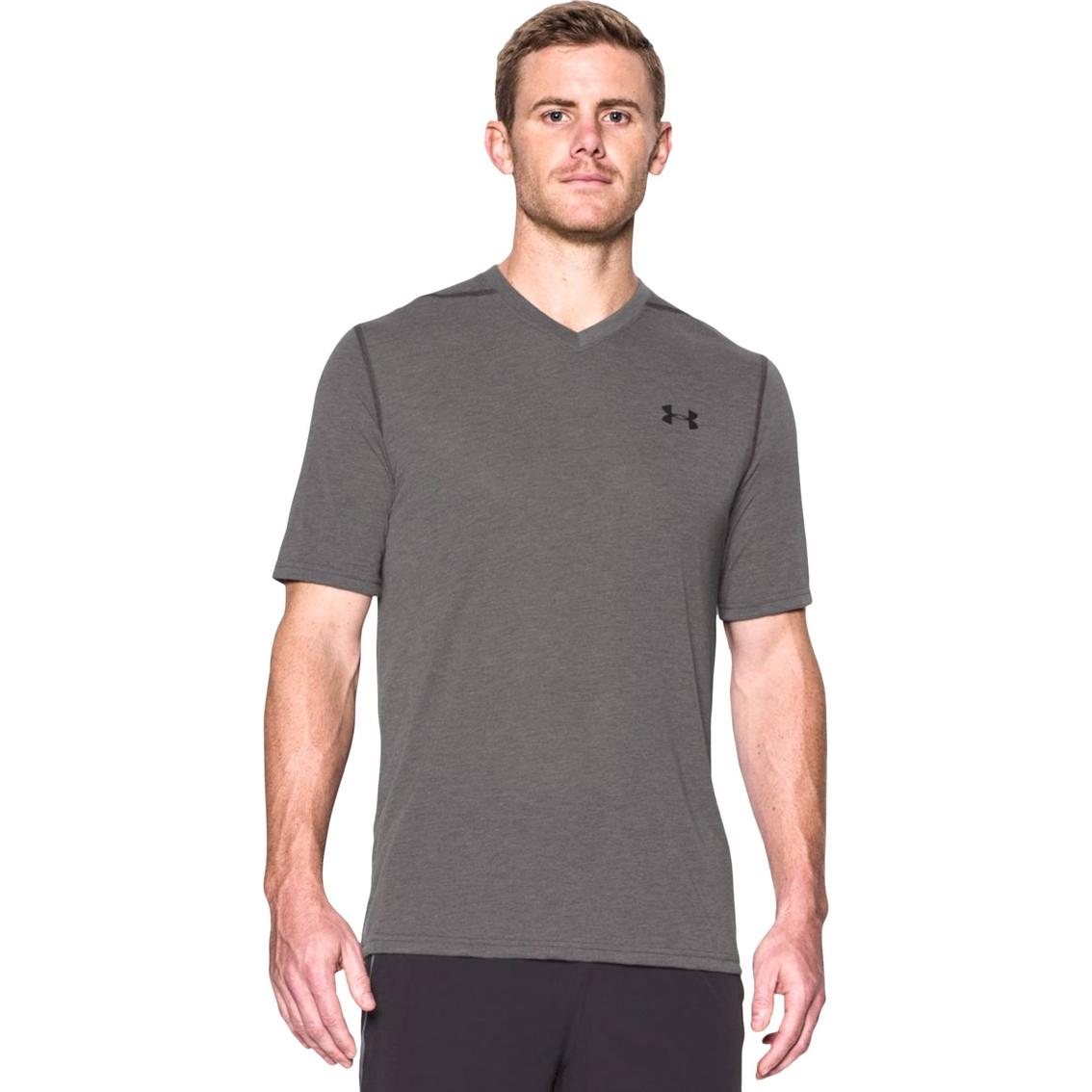 Under Armour Men/'s Threadborne Siro V-Neck T-Shirt Carbon Heather//Black L-XL