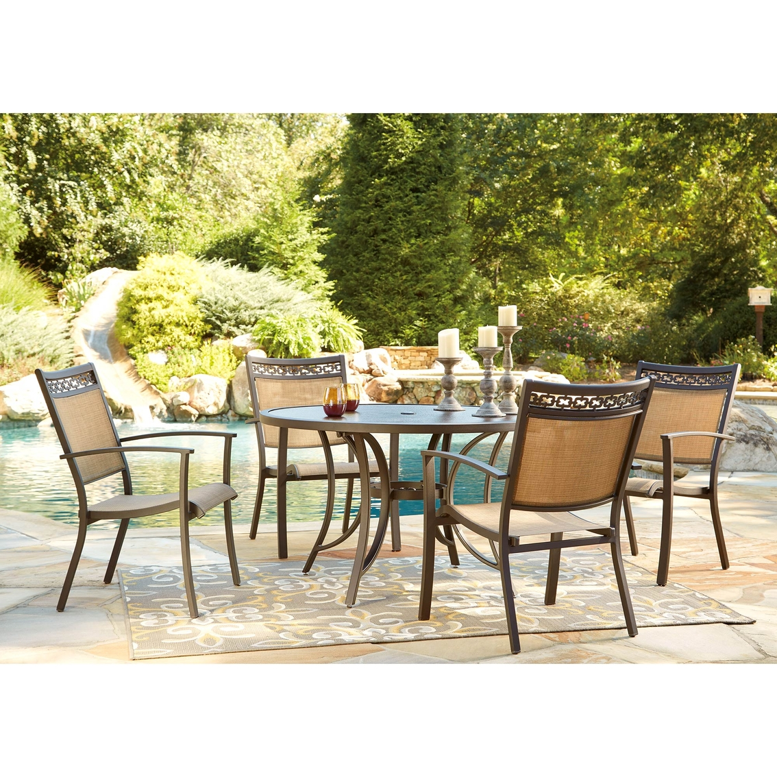 Ashley Carmadelia Round Dining Table With 4 Chairs