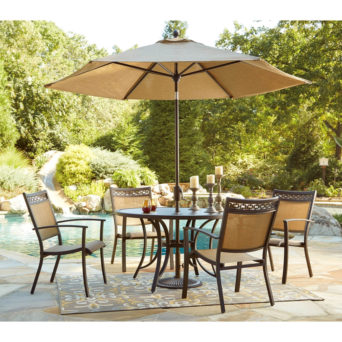 Ashley Carmadelia Round Dining Table 4 Chairs And Umbrella With Base