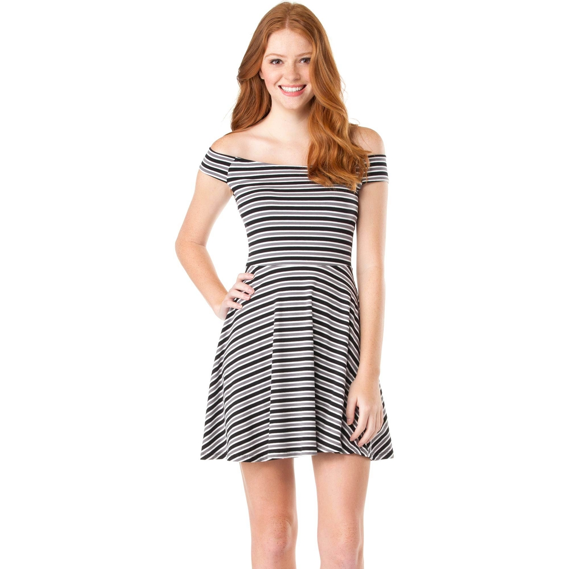 e10239502b Derek Heart Juniors Striped Off Shoulder Skater Dress Dresses