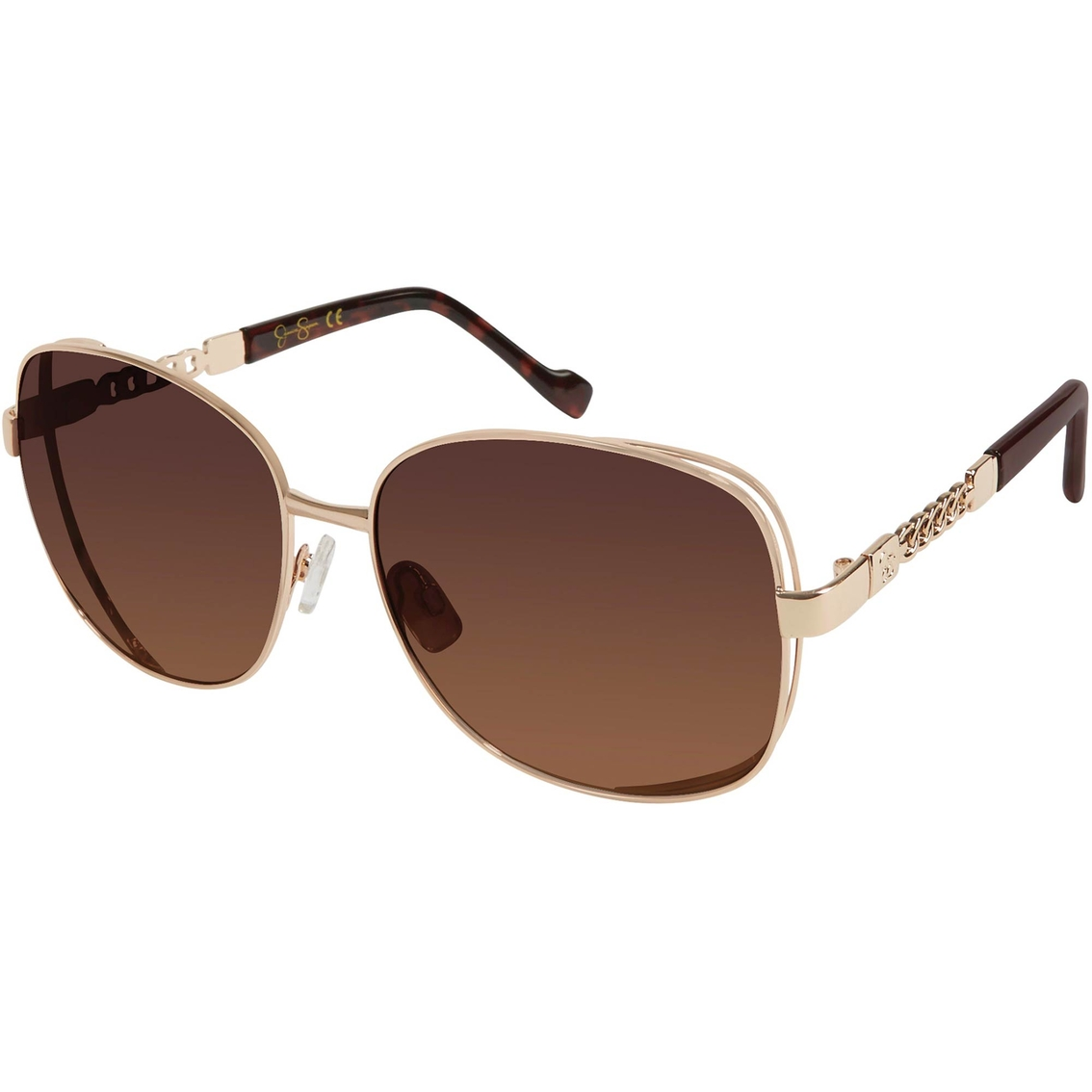 26cfb02652 Jessica Simpson Glam Rectangle Satellite with Chain Temple Sunglasses
