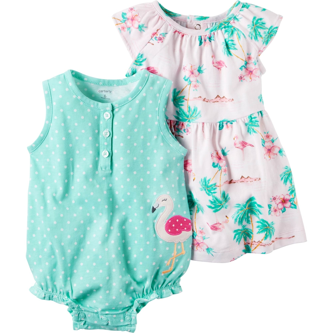 70f613a0391 Carter s Infant Girls Pink Flamingo Mint Dot 2 Pc. Dress And Romper ...