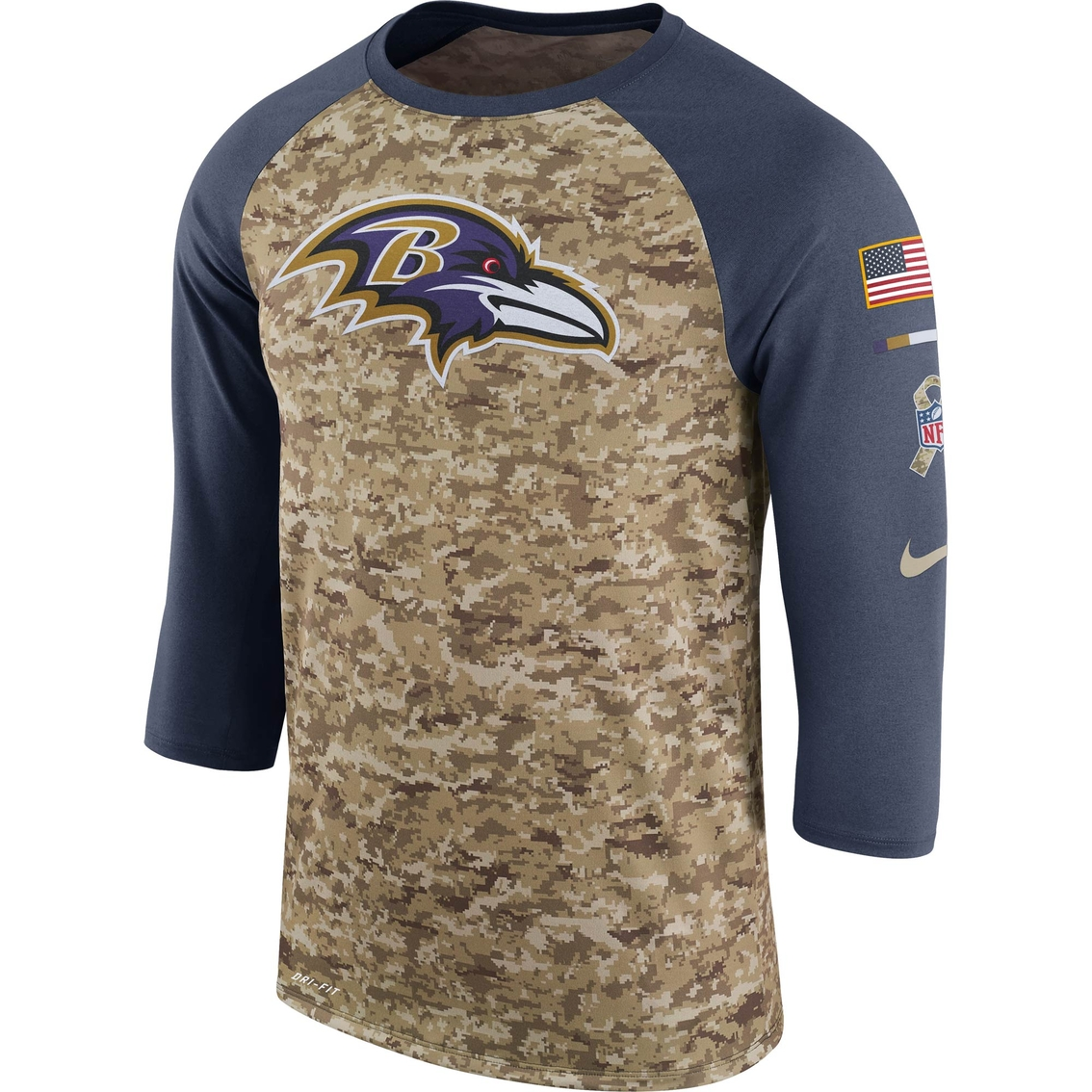 official photos cf1f8 cb003 Nike Nfl Baltimore Ravens Salute To Service Raglan Tee ...