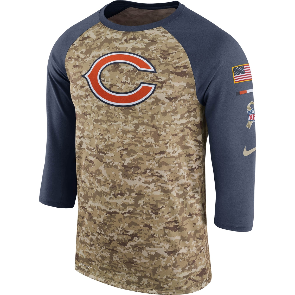 new styles 97d6a 3c5ee Nike Nfl Chicago Bears Salute To Service Raglan Tee | Shirts ...
