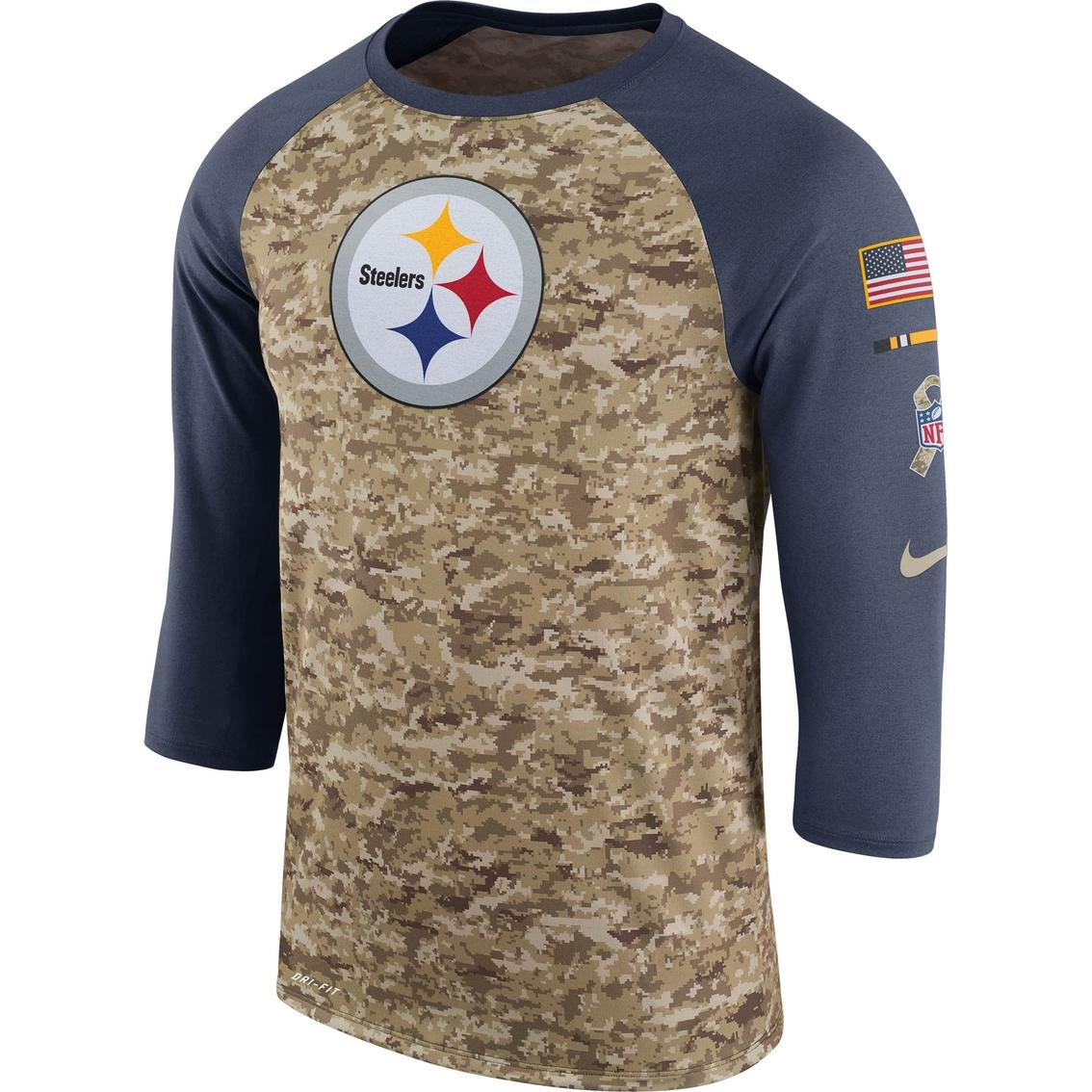buy online 29a02 9a3ee Nike Nfl Pittsburgh Steelers Salute To Service Raglan Tee ...
