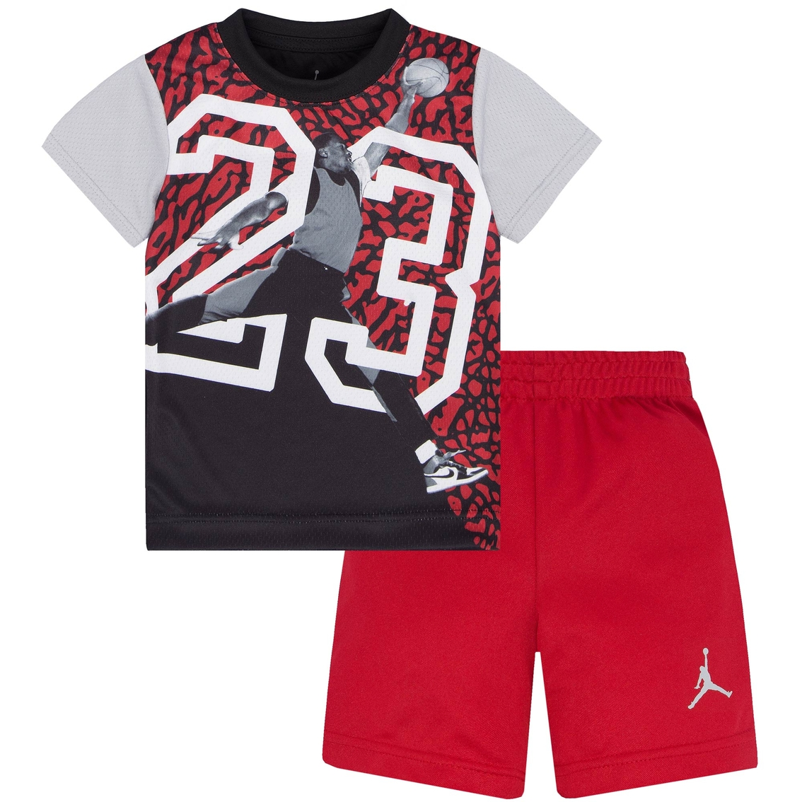 5c10f5884779f3 Jordan Toddler Boys Massive 23 Sublimation 2 pc. Tricot Tee and Shorts Set