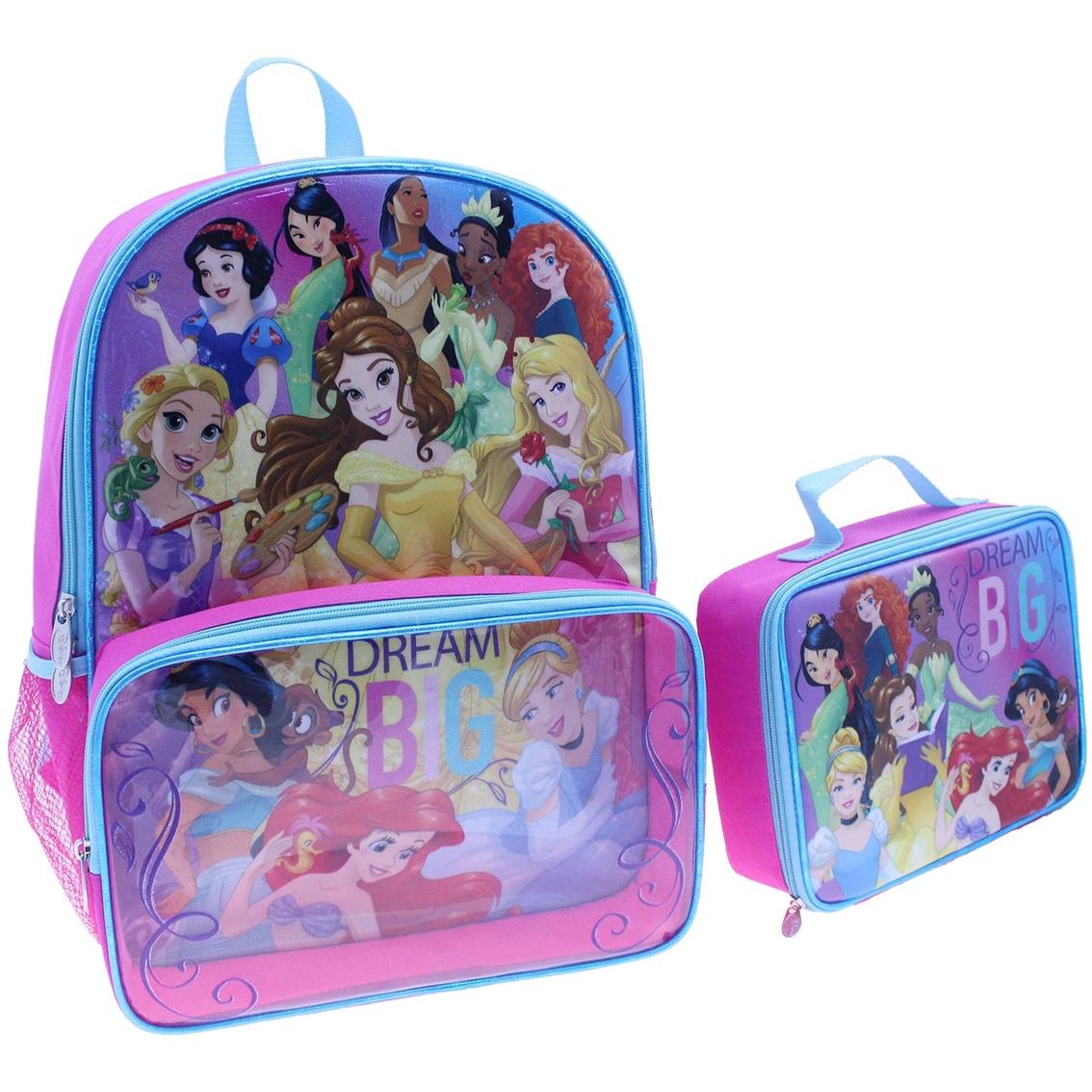 Disney Princess Girls Dream Big Backpack Kids School Lunch Book Rucksack Zip