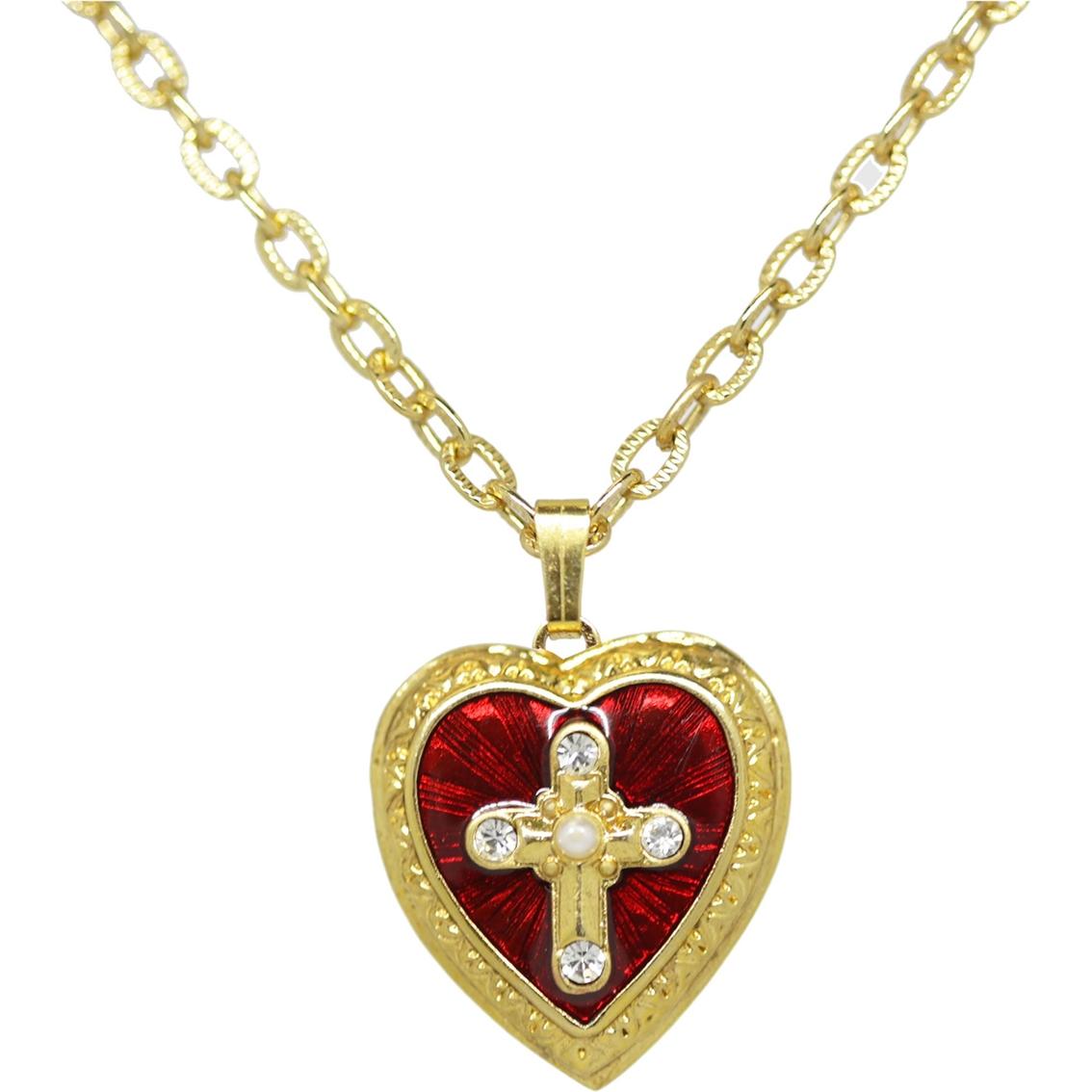 Symbols Of Faith 14k Goldtone Red Enamel Cross Of Glory Heart Locket
