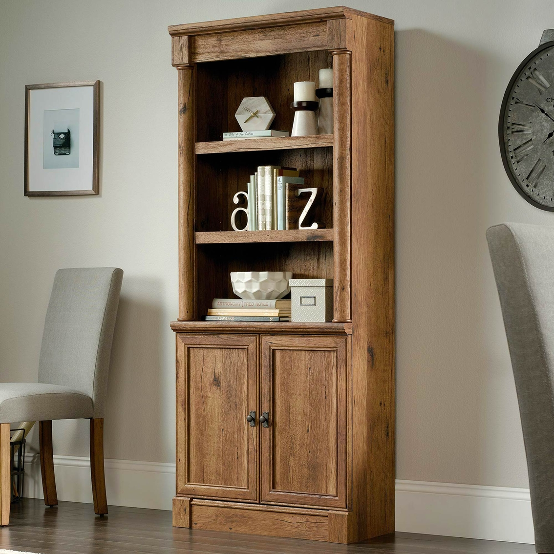 Sauder Palladia Library With Doors Bookcases Cabinets Household Shop The Exchange