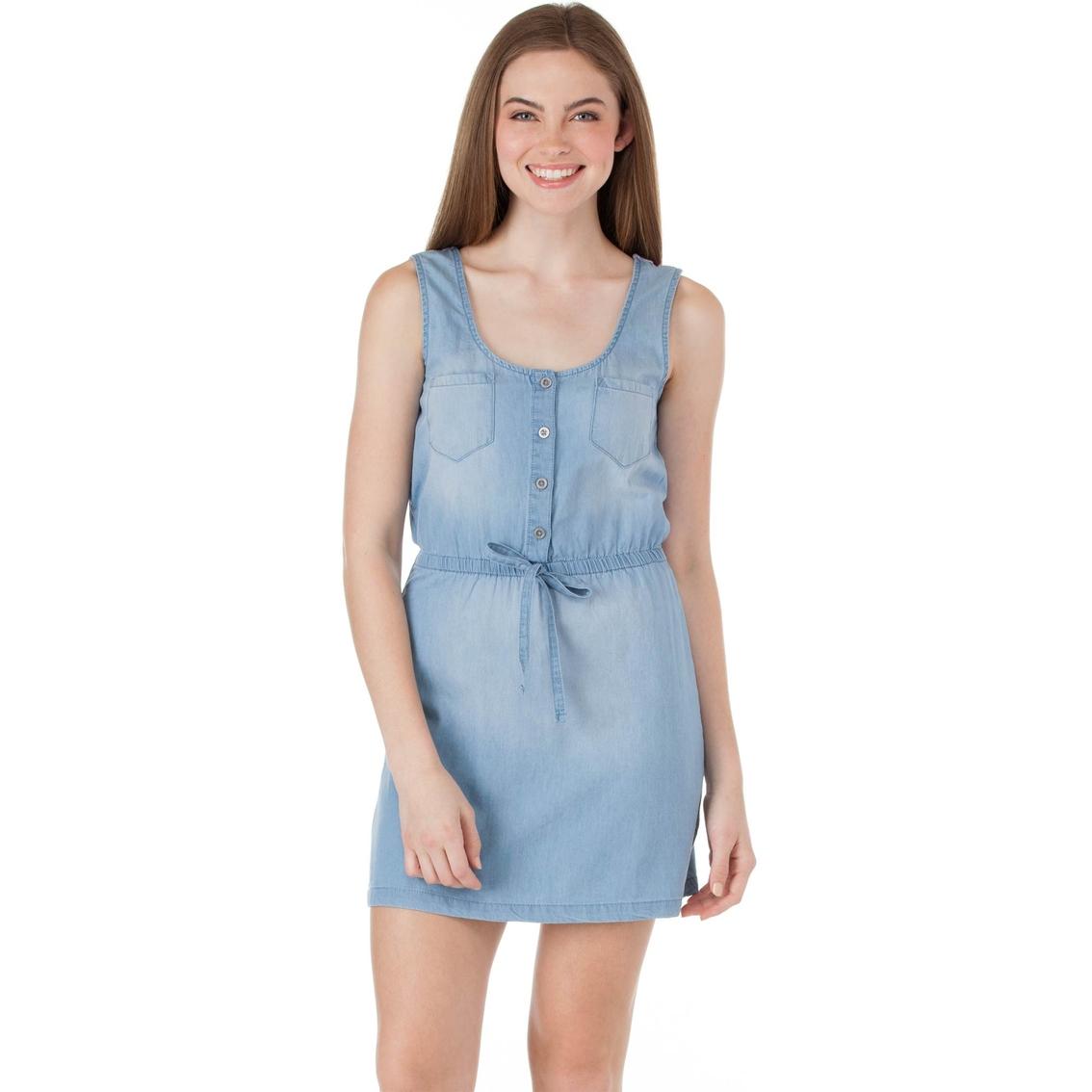 19460765524 Derek Heart Juniors Denim Dress With Crochet Back Yoke Dresses