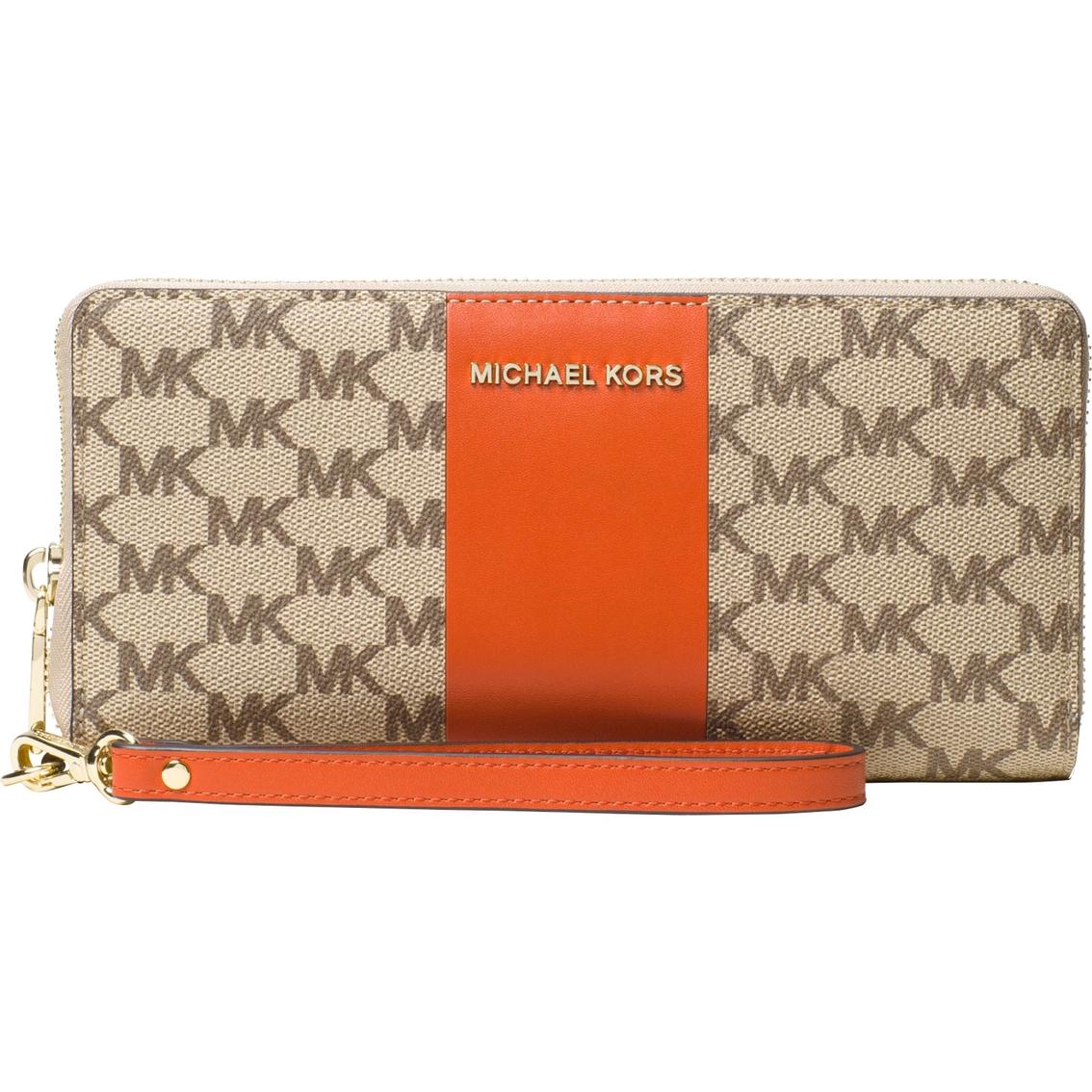 c8d4478382bb Michael Kors Center Stripe Jet Set Travel Continental Wallet ...