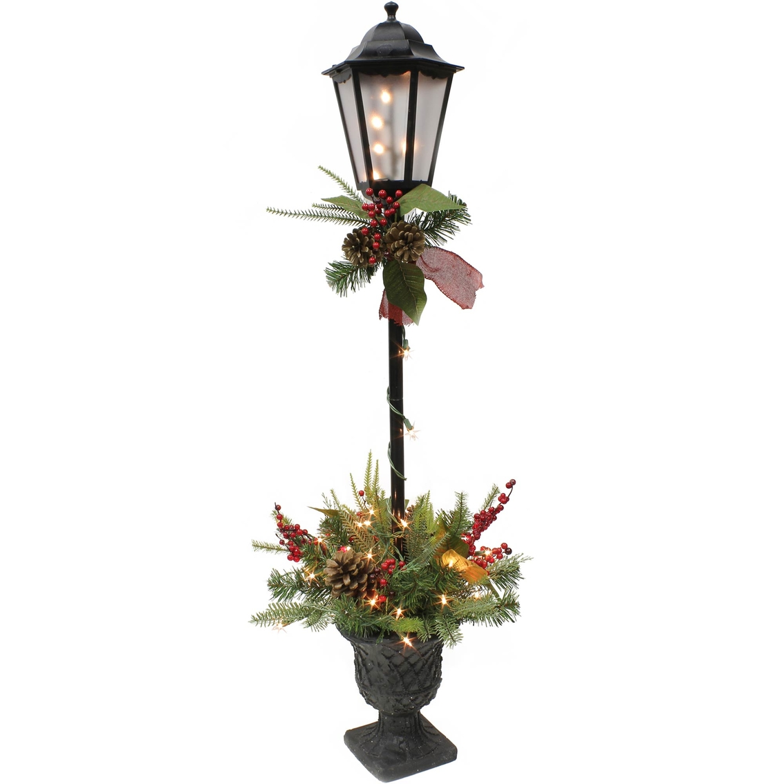puleo 4 ft decorated lamp post with clear lights - Light Post Christmas Decorations