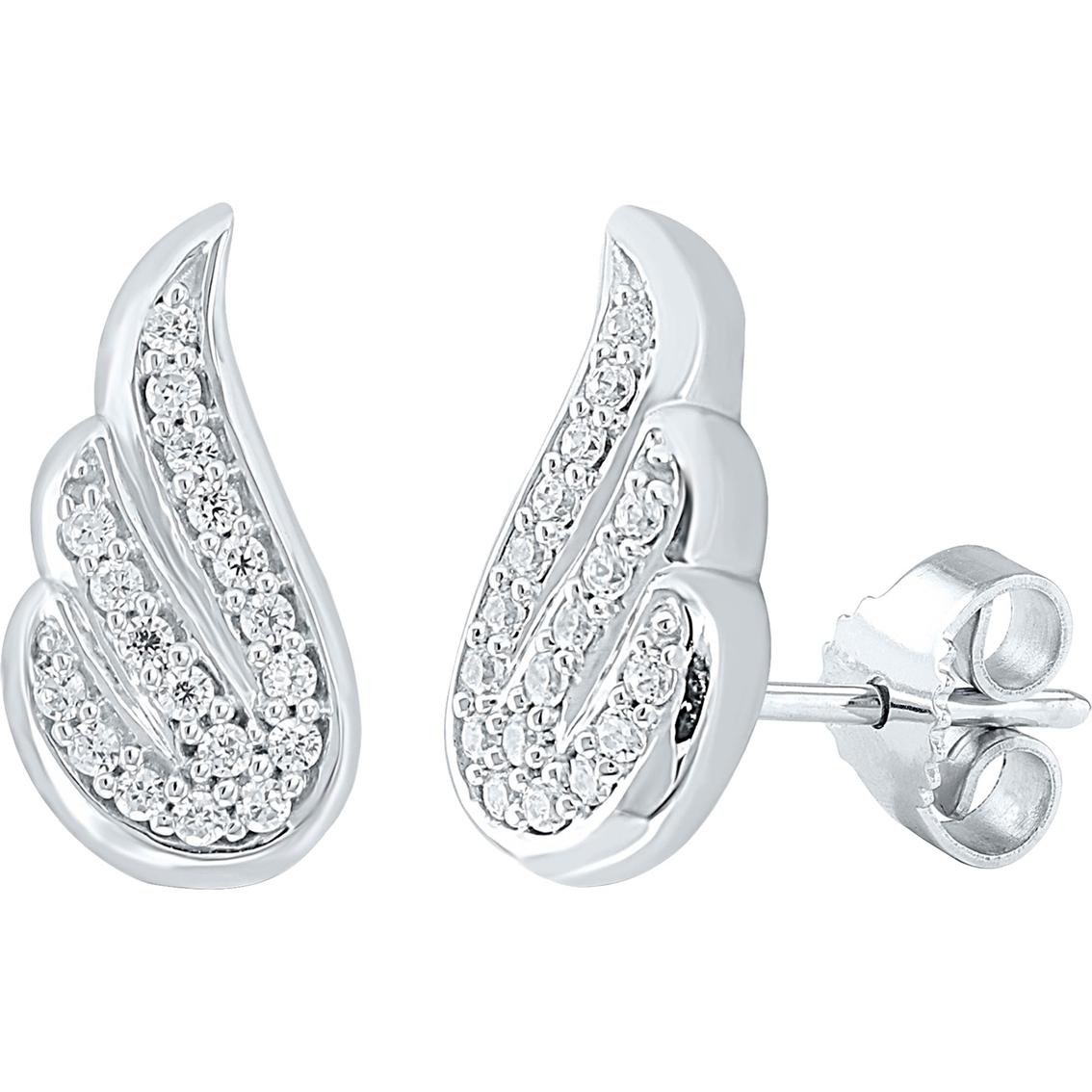Sterling Silver 1 10 Ctw Diamond Angel Wing Earrings