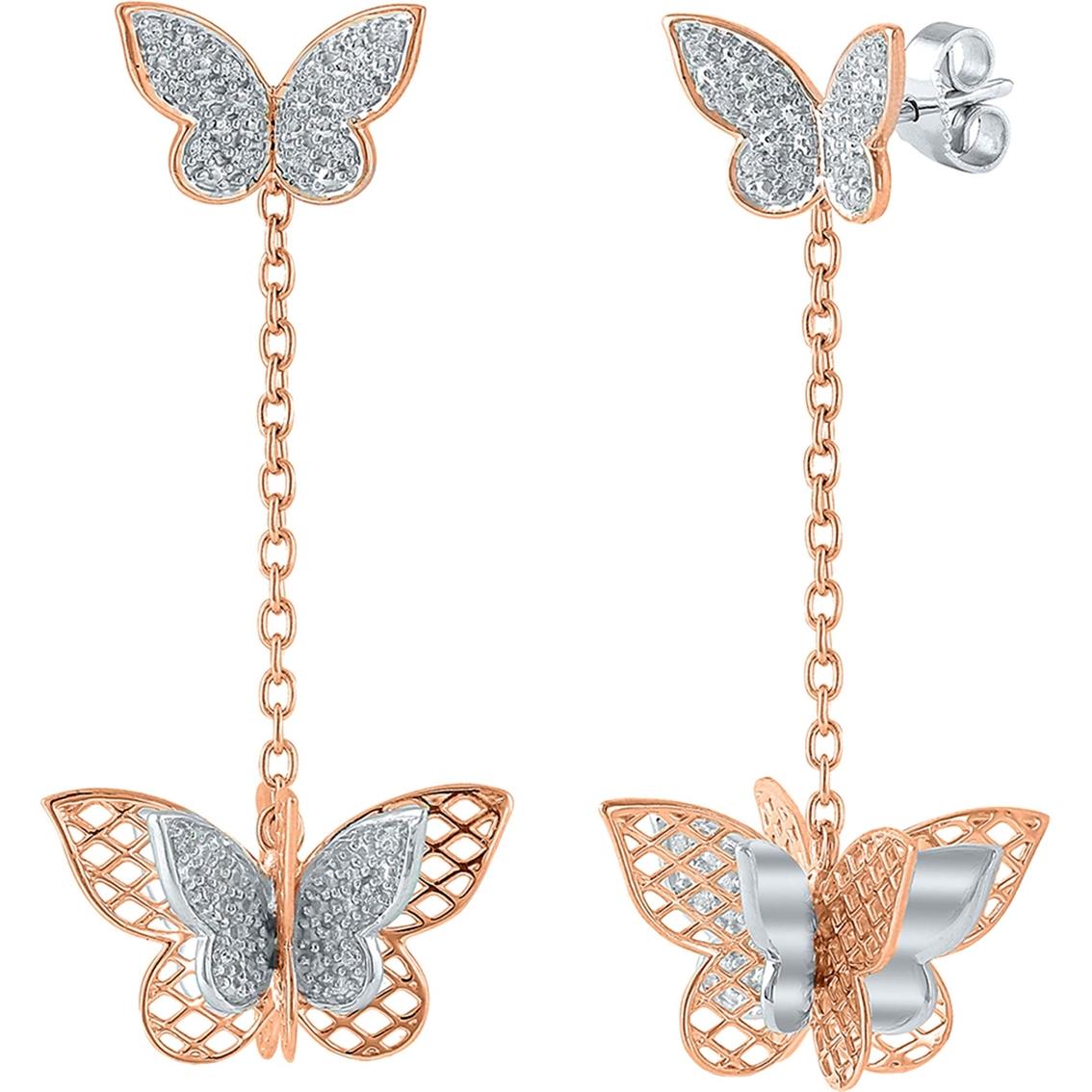 cbeffdbe4 14K Rose Gold Over Sterling Silver 1/8 CTW Diamond Double Butterfly Dangle  Earrings